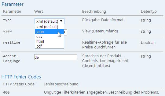 Formatreich: xml, csv, json, Excel