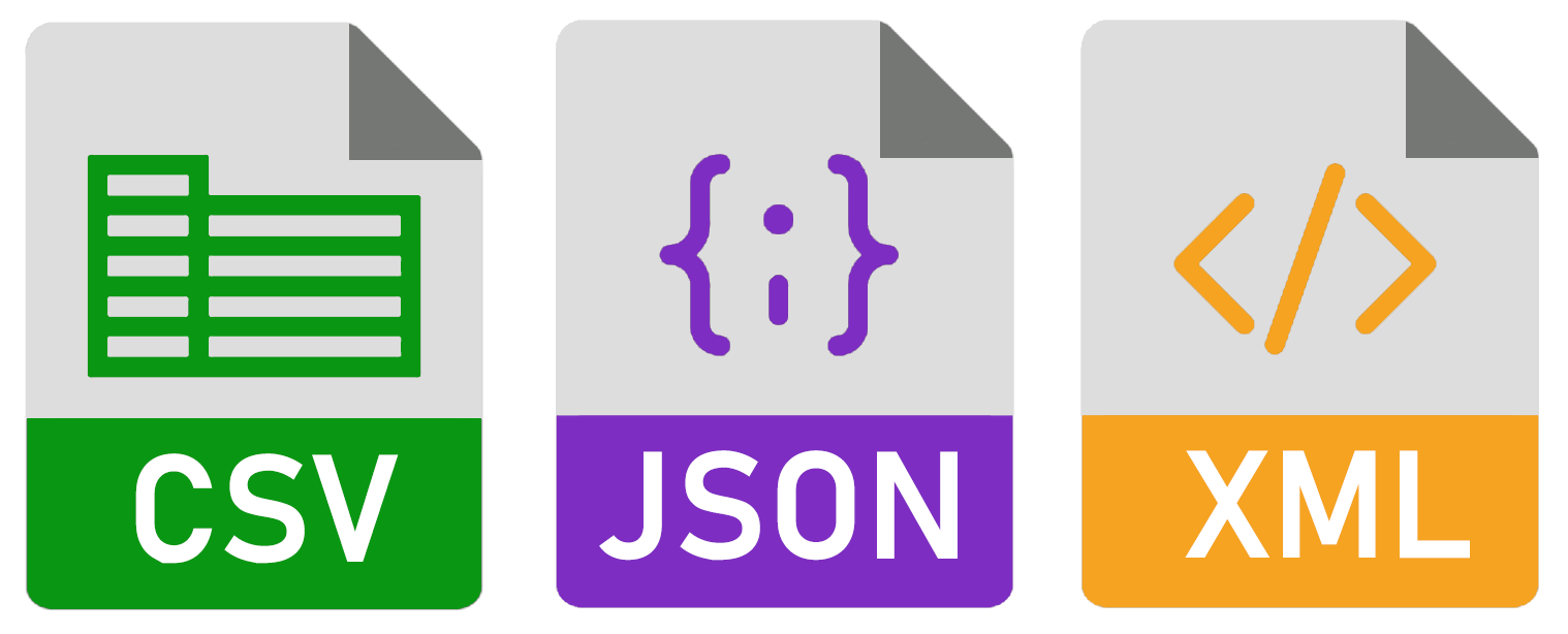 xml, csv, json or Excel: You know what we mean.