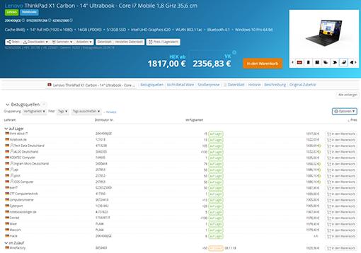 Lagerdaten & Echtzeitpreise für über 3 Mio. ITK-Artikel