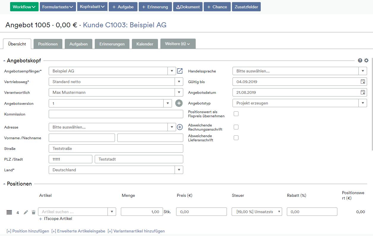 weclapp - ITscope Schnittstelle Screenshot Angebotspositionen