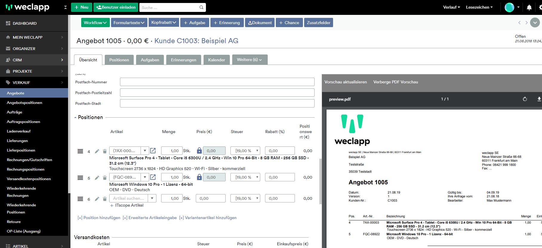 weclapp - ITscope Schnittstelle Screenshot Artikelübersicht